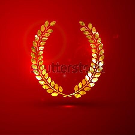 Altın madeni defne çelenk kırmızı canlı Stok fotoğraf © maximmmmum