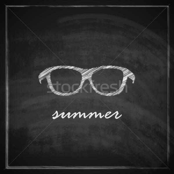 Foto d'archivio: Vintage · illustrazione · occhiali · da · sole · segno · lavagna · moda