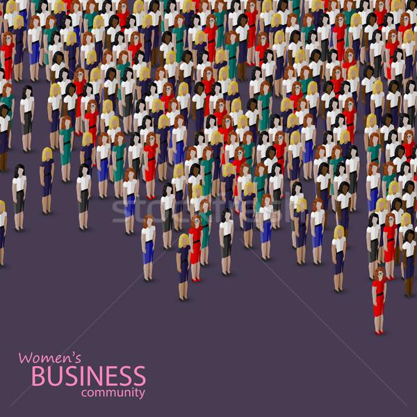 вектора 3D изометрический иллюстрация женщины бизнеса Сток-фото © maximmmmum