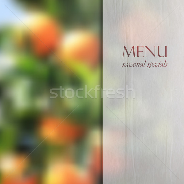 Restaurant menu design on blurred background of orange grove with semi transparent wrinkled paper te Stock photo © maximmmmum