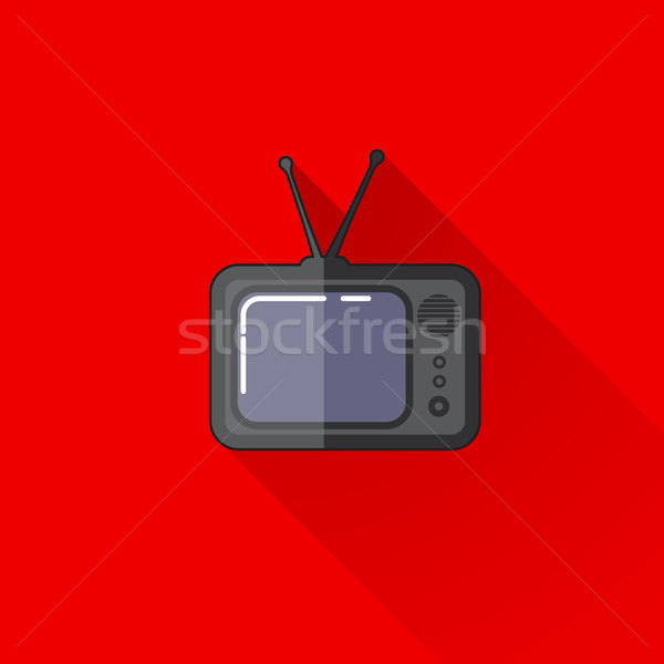 vintage illustration of a retro TV in flat style with long shadow  Stock photo © maximmmmum