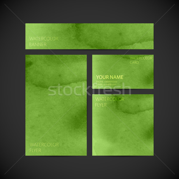 set of vector visual corporate identity green with paint waterco Stock photo © maximmmmum