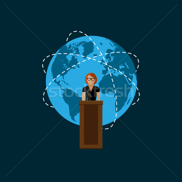flat  illustration of a speaker. politician. election debates Stock photo © maximmmmum
