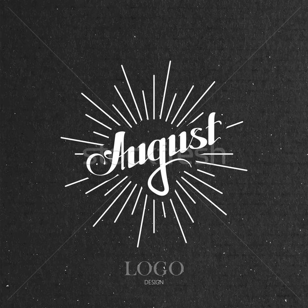 illustration of handwritten August retro label with light rays Stock photo © maximmmmum