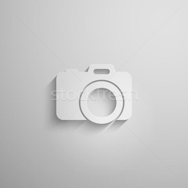 Papír 3D kamera hosszú árnyék divat Stock fotó © maximmmmum