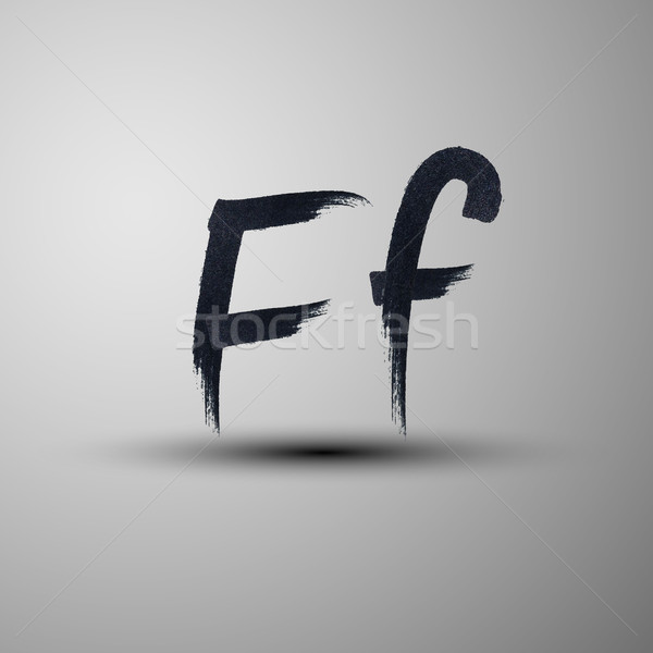vector calligraphic hand-drawn marker or ink letter F Stock photo © maximmmmum