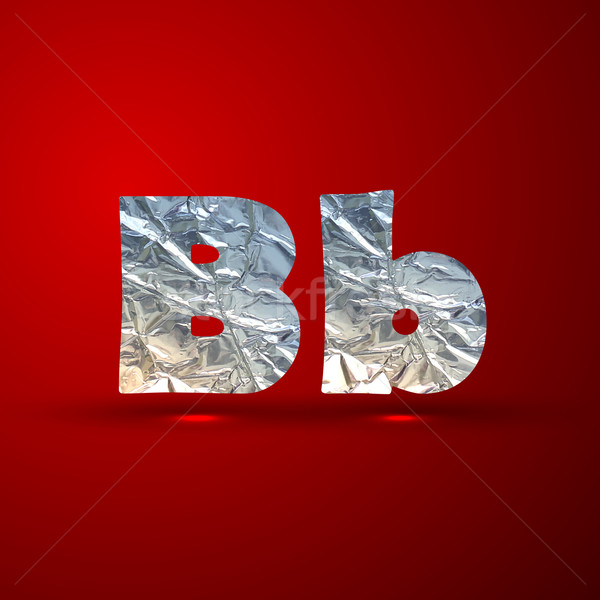vector set of aluminum or silver foil letters. Letter B Stock photo © maximmmmum
