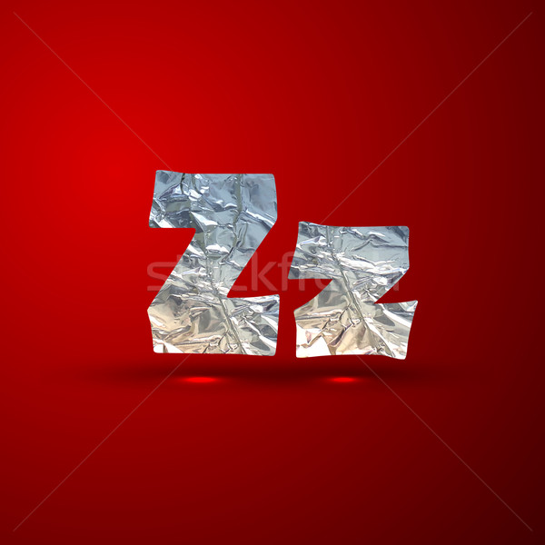 vector set of aluminum or silver foil letters. Letter Z Stock photo © maximmmmum