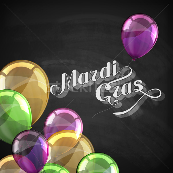 vector typographical holiday illustration of ornate chalk word Mardi Gras on the blackboard texture  Stock photo © maximmmmum