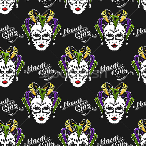 vector background with engraving Mardi Gras or Shrove Tuesday carnival mask or jester emblem. seamle Stock photo © maximmmmum