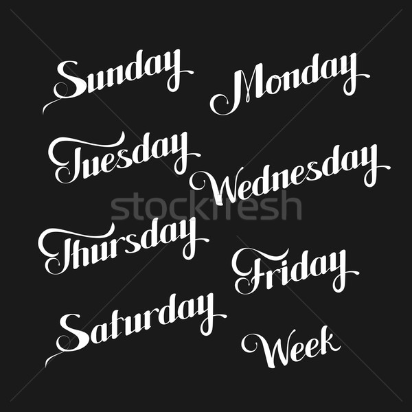 vector typographic illustration of handwritten days of the week (Sunday, Monday, Tuesday, Wednesday, Stock photo © maximmmmum
