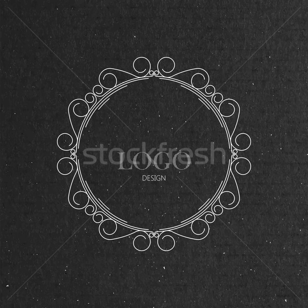 ornate art-deco frame on cardboard texture Stock photo © maximmmmum