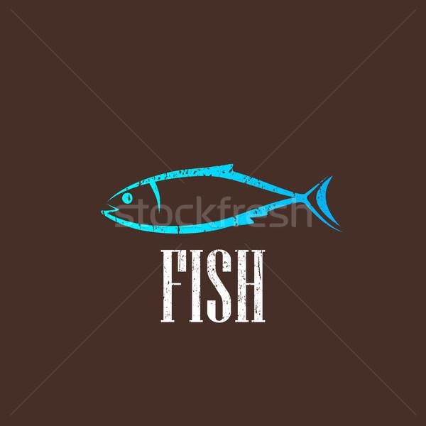 vintage illustration with a fish  Stock photo © maximmmmum