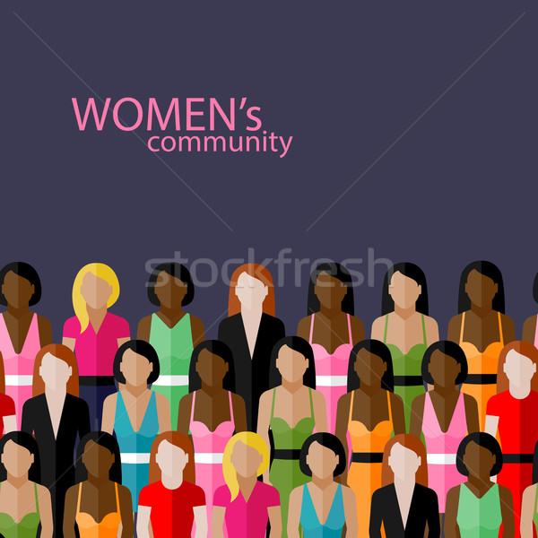 Vektor illusztráció nők közösség nagyobb csoport lányok Stock fotó © maximmmmum
