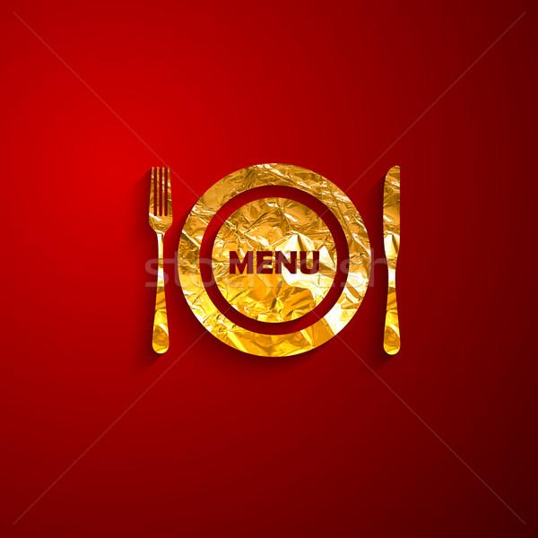 メタリック プレート カトラリー 赤 レストラン ストックフォト © maximmmmum