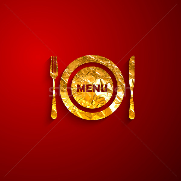 Altın madeni plaka çatal bıçak takımı kırmızı restoran Stok fotoğraf © maximmmmum