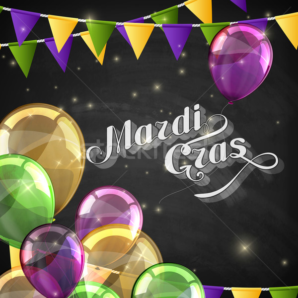 vector typographical illustration of ornate chalk words Mardi Gras on the blackboard texture with mu Stock photo © maximmmmum