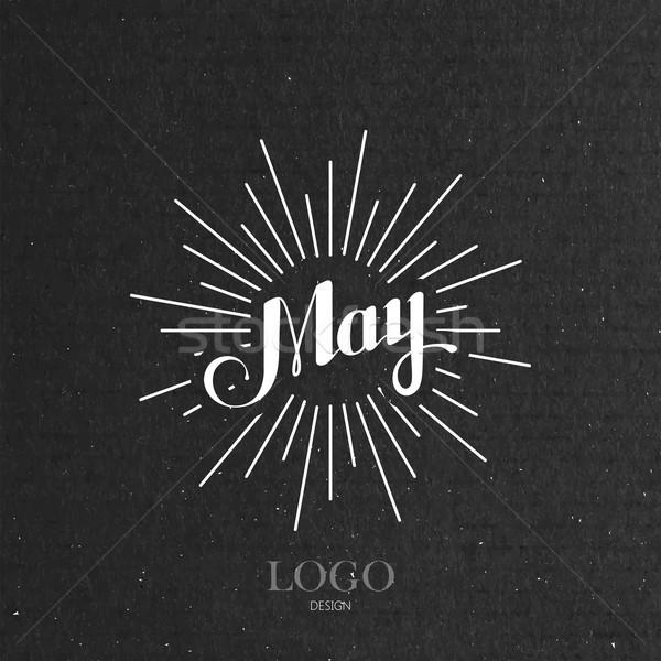 illustration of handwritten May retro label with light rays Stock photo © maximmmmum