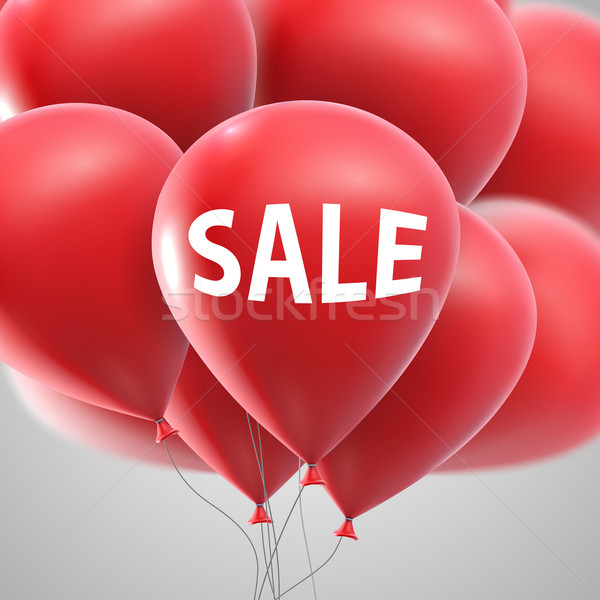 Sale label and flying balloon bunch Stock photo © maximmmmum