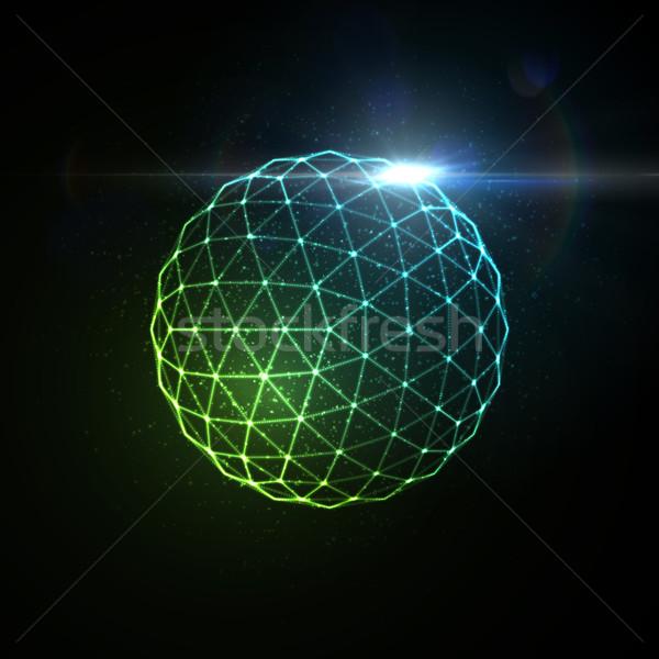 3D iluminado esfera partículas Foto stock © maximmmmum