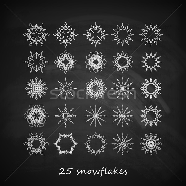 vector set of 25  graceful snowflakes on the blackboard background Stock photo © maximmmmum