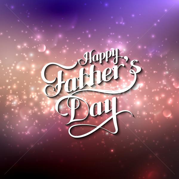 Jour de pères heureux rétro étiquette floue vecteur Photo stock © maximmmmum