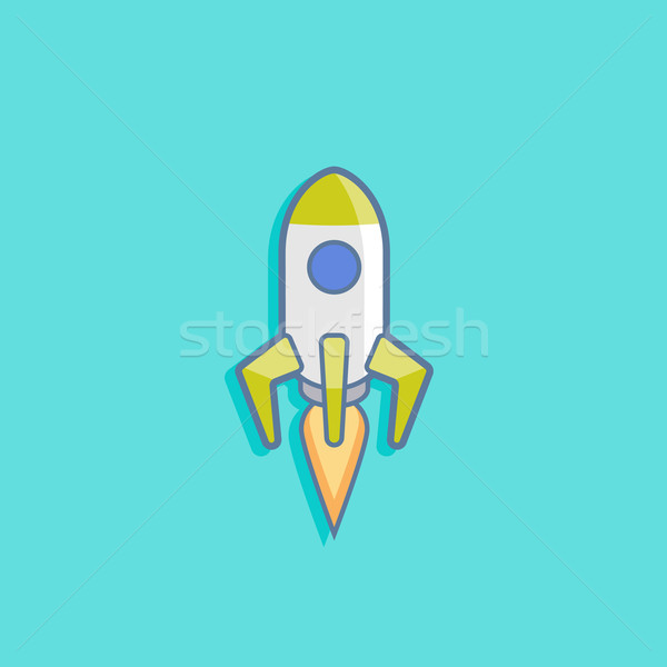 vector illustration with a rocket in flat style design Stock photo © maximmmmum