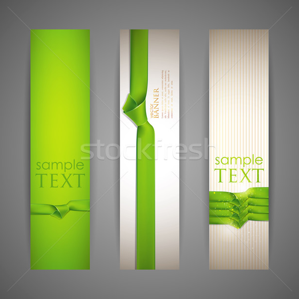 set of banners with green ribbons Stock photo © maximmmmum