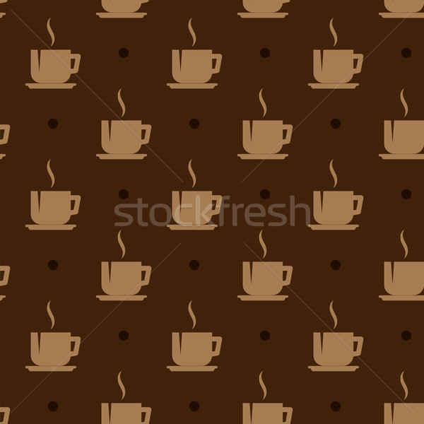 Stock photo: seamless background with coffee cups