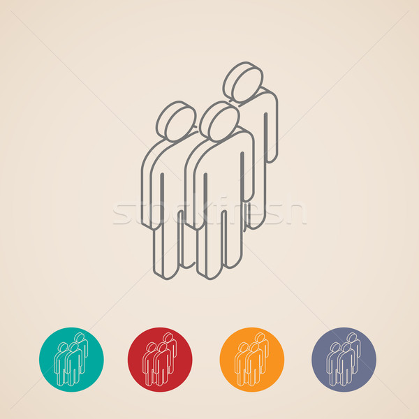 isometric vector icons of people group  Stock photo © maximmmmum
