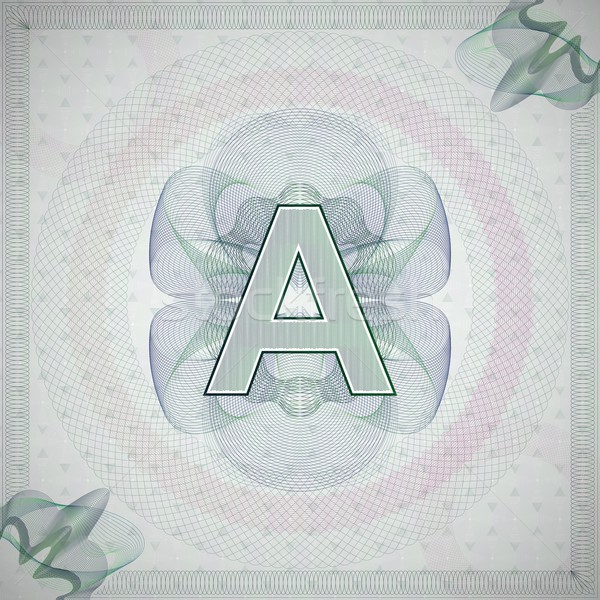 vector illustration of letter A in guilloche ornate style. monetary banknote background Stock photo © maximmmmum