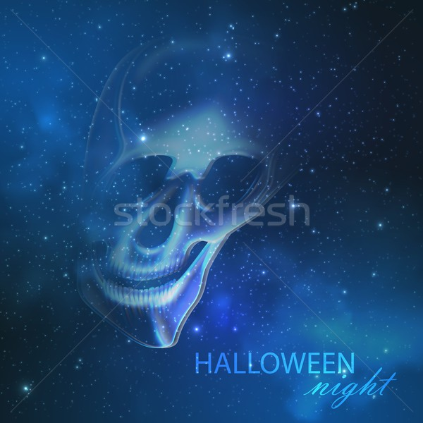 spooky vector illustration with an evil ghost skull on the night starry sky background. halloween wa Stock photo © maximmmmum
