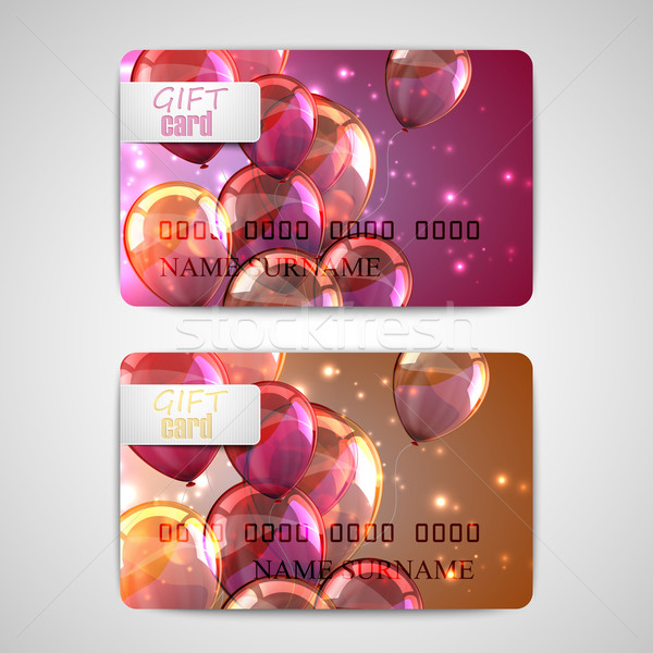 set of shiny gift cards with flying balloons and sparkles  Stock photo © maximmmmum