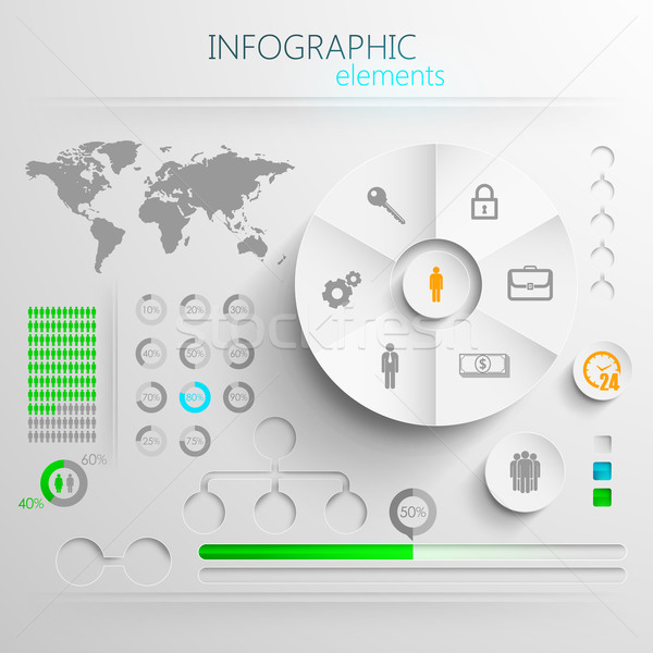 vector set of abstract 3d paper infographic elements for print or web design  Stock photo © maximmmmum