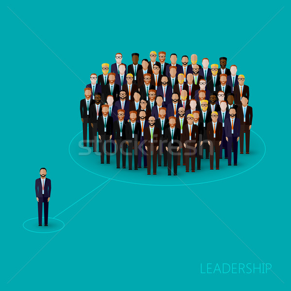vector flat illustration of a leader and a team. a crowd of men (business men or politicians) wearin Stock photo © maximmmmum