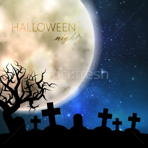 Halloween vector illustration with full moon and cemetery on the night sky background. party flyer d Stock photo © maximmmmum