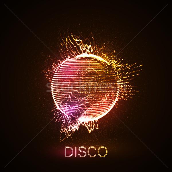 Disco enseigne au néon 3D déformée sphère Photo stock © maximmmmum