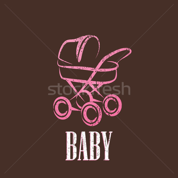 vintage illustration with a baby pram  Stock photo © maximmmmum