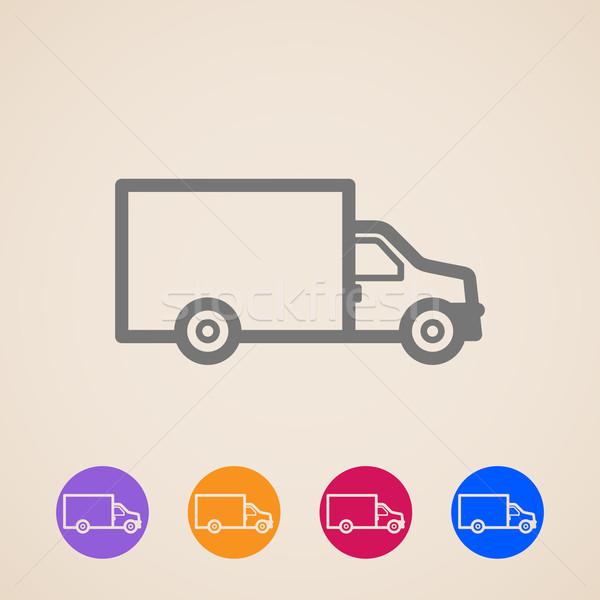 Vecteur camion de livraison icônes affaires design camion Photo stock © maximmmmum