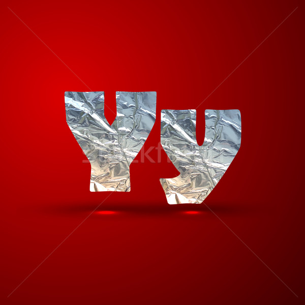 vector set of aluminum or silver foil letters. Letter Y Stock photo © maximmmmum