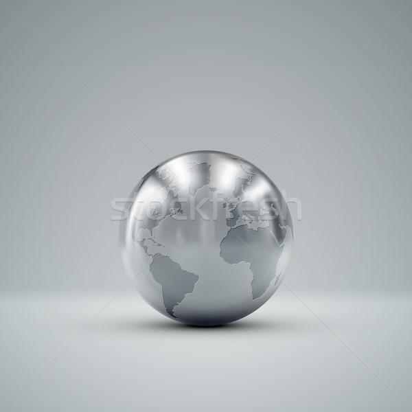 Stock photo: 3D metallic globe