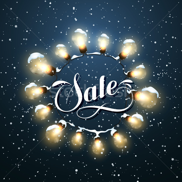 Sale Promotional Label. Glowing Lights. Vector Holiday Illustration of Luminous Electric  Wreath. Stock photo © maximmmmum