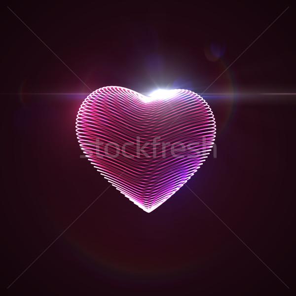 3D illuminated neon heart Stock photo © maximmmmum
