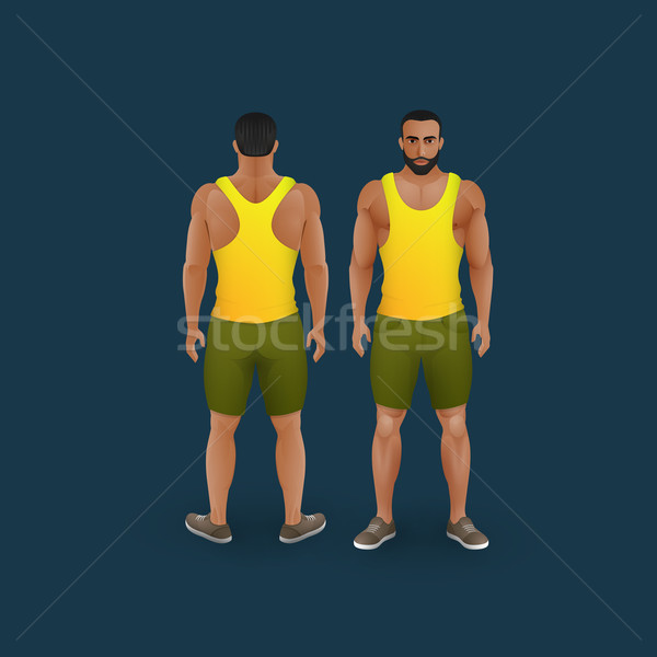men in shorts and singlet Stock photo © maximmmmum