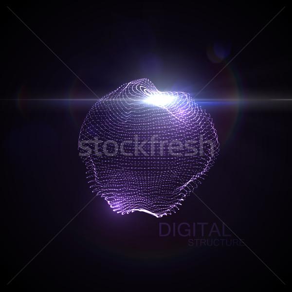 Stock fotó: 3D · megvilágított · eltorzult · gömb · izzó · részecskék