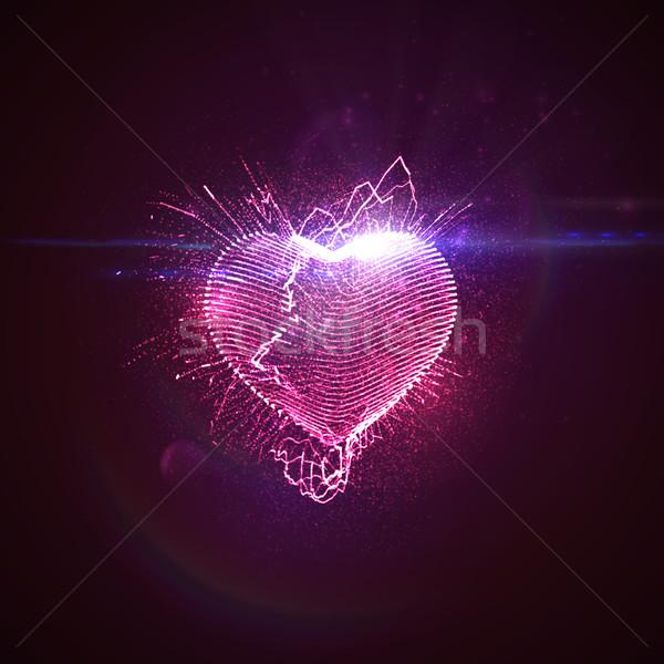 3D megvilágított neon szív boldog valentin nap Stock fotó © maximmmmum