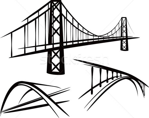 セット 橋 橋 黒 図面 輸送 ストックフォト © maximmmmum