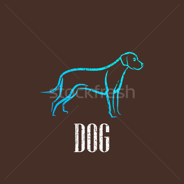 vintage illustration with a dog  Stock photo © maximmmmum
