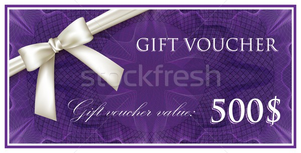 vector template design of purple gift voucher or certificate with guilloche pattern (watermarks) and Stock photo © maximmmmum