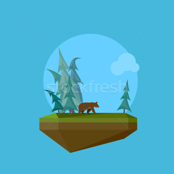 Illustration of a cartoon flying island with wild nature, forest and bear Stock photo © maximmmmum